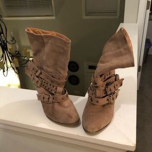 Gently used real suede boots with belt details